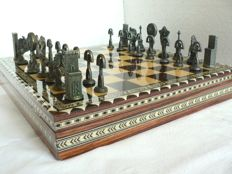 Bronze chess. Granada marquetry board-box.