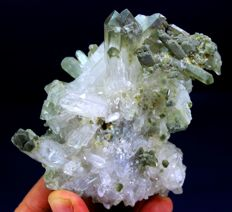 Terminated & Undamaged Double Sided Green Chlorine Quartz Crystals Specimen -  90 x 80 x 40 mm - 224 Gram