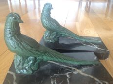 Pair of bronze green patina bookends, France, 1940s/50s