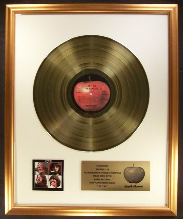 The Beatles Let It Be Soundtrack LP Non RIAA Gold Record Award Apple Records