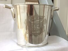 Champagne cooler / wine cooler, silver plated with engraving