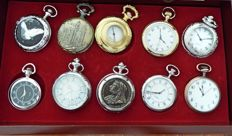 Hachette 10 replica special old men's pocket watches, in top condition  with nice wooden box and book, please see pic's for models!