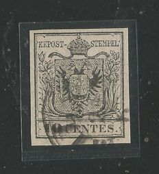 Kingdom of Lombardy-Venetia: Year 1854-57 – 10 cents – Machine paper – Black/grey.
