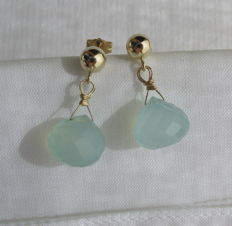 14k/585 gold earrings (ear studs) with faceted cut aqua chalcedony, length 2 cm, weight 3.1 g