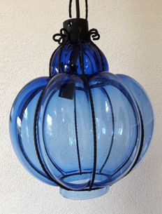 Nice old blue Venetian lamp in metal frame