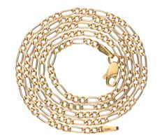 18 kt yellow gold Figaro link necklace - Length: 46 cm