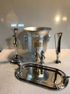 "Luxury ""foie gras"" set with salt and pepper cellars, bud vase and silver plated metal candle holder and an aluminium champagne bucket"