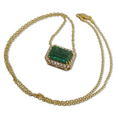 Emerald Pendant, 5.17ct Centre Stone-Diamonds of 0.56 ct in total-Length: 18 Inches (46cm)