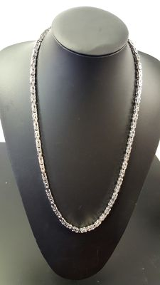 925 silver Byzantine link necklace – length: 65 cm, Width: 4 mm, Weight: 84.2 g