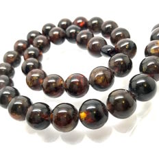 Dark Baltic Amber necklace of beads ø13 mm, weight 43.7 grams