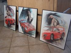 "Jochem Bakker - 3 framed prints Ferrari on watercolour paper - ""Last night I had a dream"" /  ""Arrive en Versailles"" / ""History of a Country"""