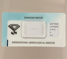 0.18 ct brilliant cut diamond, D, SI2