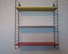 "A. Dekker for Tomado, ""Pocket"" bookshelf/wall rack in its authentic colours"