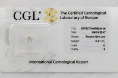 0.61 ct brilliant cut diamond  G  I3   ** Low Reserve **