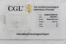 0.51 ct brilliant cut diamond  D  I3