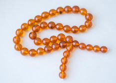 Vintage Baltic Amber rosary / mala 100% natural butterscotch, honey colour, Arabic style, 53 gr.