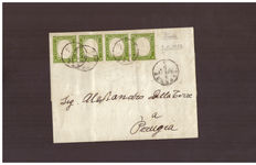 Sardinia, 1855-63 – 5 Cent yellowish green (No. 13 Da), strip of four on a letter from Florence to Perugia.