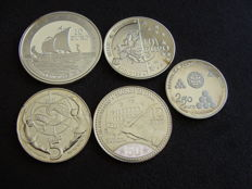 Europe – 2½, 5, 10 and 12 Euro 2005/2011 Commemoration Euros (5 different ones) - silver