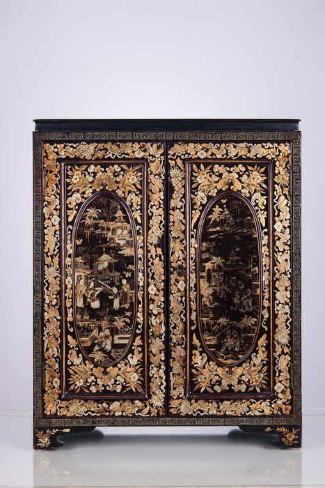 Small Chinese Cabinet In Black Lacquer With Golden Decorations U2013 China U2013  Early 1900s