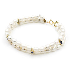 18 kt gold bracelet with freshwater pearls – Length: 19 cm (approx.)