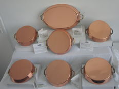 Cuivre Fait a La Main - 6 copper oven scales / sauce bowls / pans and an oval fish platter - unused