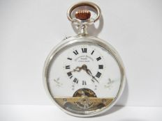 Rare Antique Sterling Silver HEBDOMAS 8 Days Pocket Watch Case signed HEBDOMAS REGISTERED