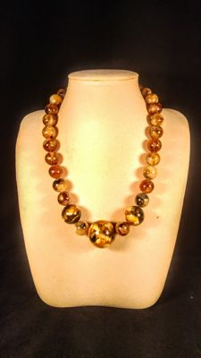 Marbled round beads modified Baltic Amber necklace, 90 grams