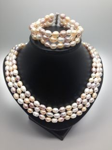 Three-row cultured freshwater pearl necklace and bracelet with sterling silver clasps