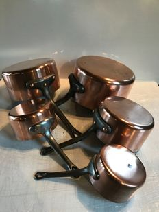 Set of 5 thick copper pans France, 1940s