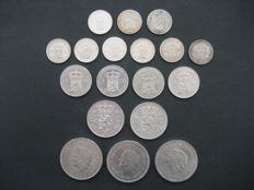 The Netherlands - ½ guilder through 10 guilders 1909/1970 Wilhelmina and Juliana (18 pieces) – silver