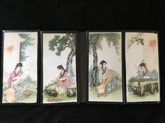 Quadriptych of hand-painted tiles - China - 2nd half 20th century