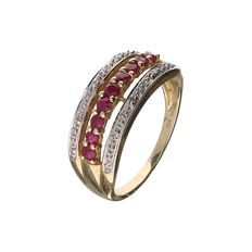 18 kt yellow gold ring set with 20 rubies and 9 brilliant cut diamonds, 0.18 ct in total - ring size 17.25