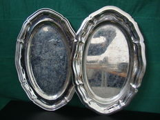 2 Silver Platted Serving Tray, England, ca. 1950