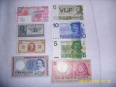 Netherlands - 8 Dutch banknotes from 1945 to 1989