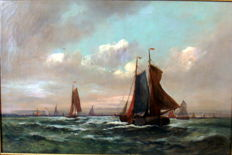 Not clearly signed, Dutch School. Botters op meer - ca. 1900