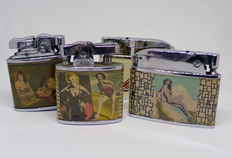 Collection of petrol lighters in chromed metal with Pin-up girl decoration, from the 50s