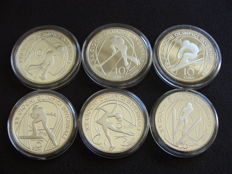 "Italy – 5 and 10 Euro 2005 – ""2006 Winter Olympics, Turin"" (6 different coins)"