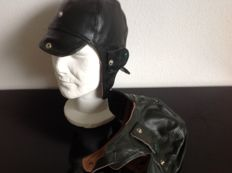 One pair ( 2pieces )  LEATHER DRIVING HELMETS   Brown  New from Old stock  never used