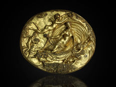 Rare and beautifully made fire-gilded plaque with mythological representation - France - the end of the 19th century