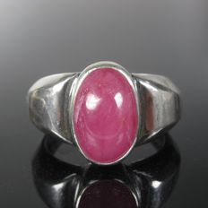 925 silver ruby ring signet ring - ring size 65