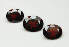 Three Pyrope Almandite Garnet - 9.78 Ct Total - No Reserve Price
