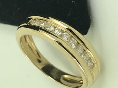 18k gold invisible diamond setting engagement ring - size 54