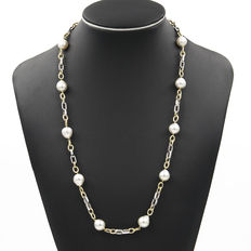 Two-tone matinee necklace with Australian South Sea Pearls and two-coloured (yellow - white) 18 kt (750/000) gold links - Length: 64 cm