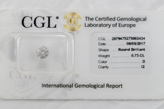 0.73 ct brilliant cut diamond  D  I2