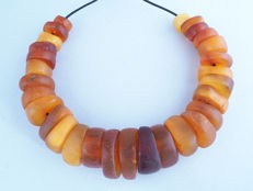 Antique natural amber beads strand from the African Trade