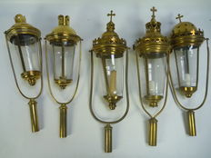 Religious - 4  yellow brass procession lamps, The Netherlands - Belgium - France, 1st half 20th century
