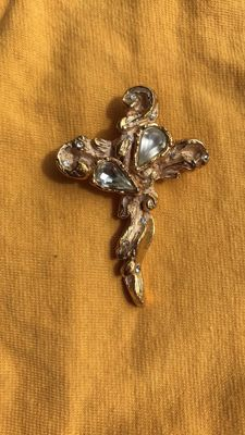 Christian Lacroix brooch pendant, old gold-plated, cross-shaped, with Swarovski crystals, marked at the back, signed.