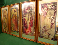 Alphonse Mucha - Four Seasons - ( Amazing Colors and Expensive Large Frames in Mint Condition - High  59 cm )