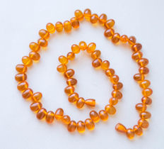 Baltic Amber beaded necklace with 100% natural butterscotch, honey color, 40 gram No reserve
