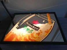 Heineken Beer illuminated advertising sign with mirror glass - Ca. 1995